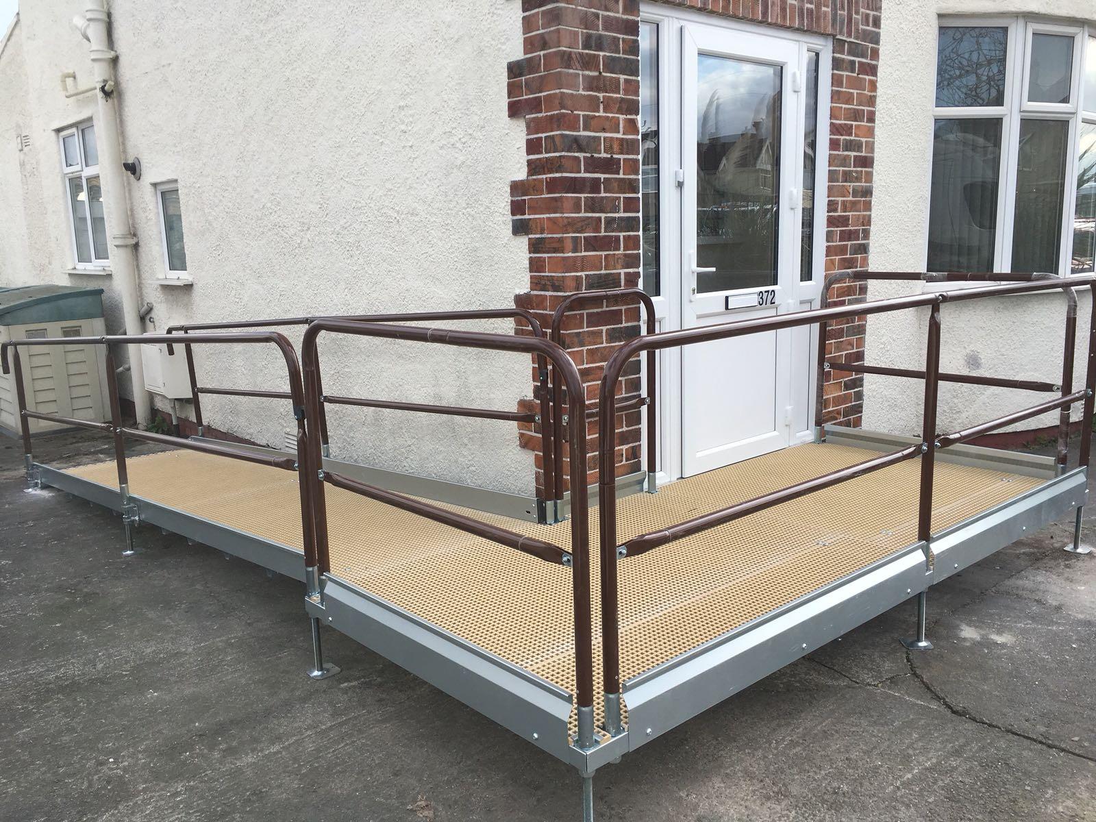 Disabled ramp Wrapped around corner